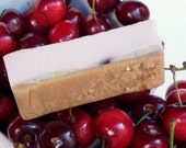 Holiday Sale - Cherry Crumble Soap - Brown Sugar Scrub Soap with Yogurt - Cherry Vanilla Scent, Bakery, Dessert Soap