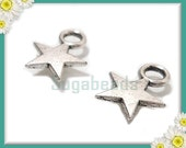 50 Antiqued Silver Celestial Star Charms 11mm x 8mm, Small Star Charms, PS53