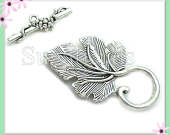6 Antiqued Silver Leaf Toggle Clasps - Grape Leaf Toggles, Silver Leaf Toggles 37mm