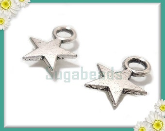 100 Antiqued Silver Small Celestial Star Charms 11mm x 8mm PS53