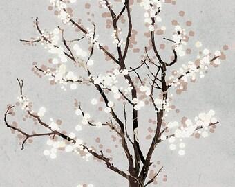 Silver Grey Tree Blossoms - 8x10  Art Print - Dancer in the Dark (silver) - Print gray