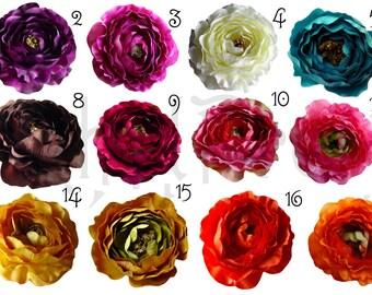 5 PCS Large Ruffle Ranunculus Rose flowers - 4 inches- PICK COLORS