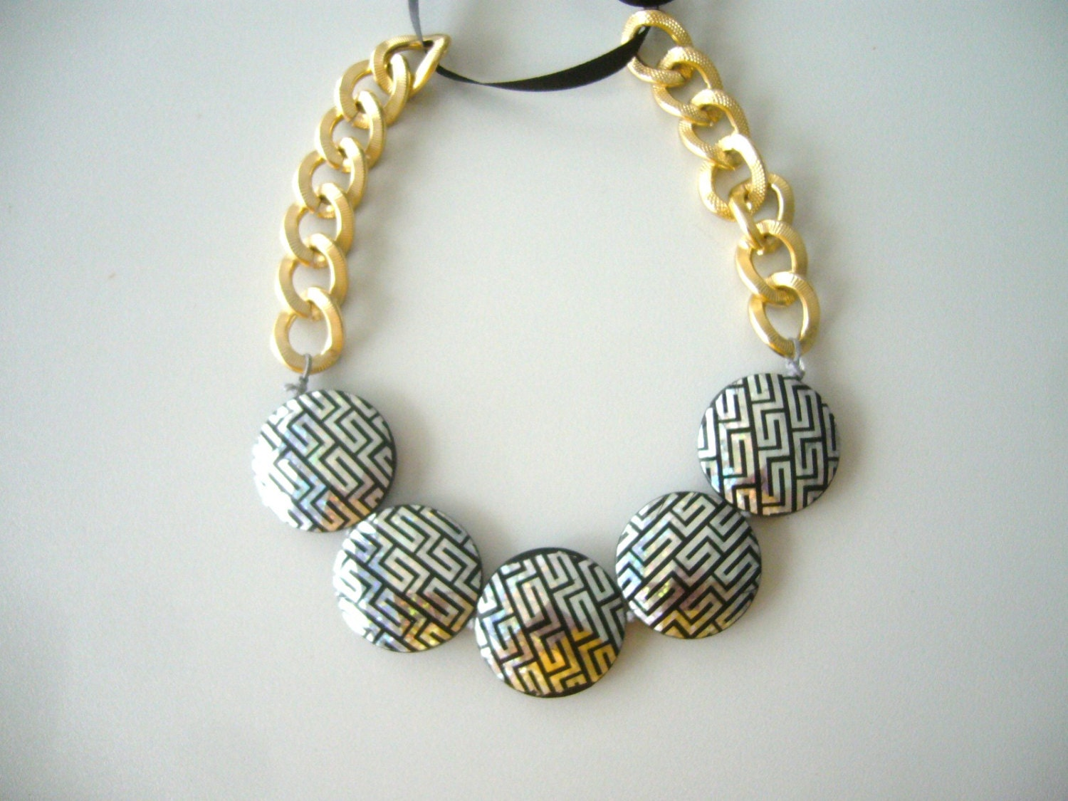 black and silver chunky necklace marni style