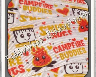 "Campfire Buddies ""BFF""on off white ""Orange flames sparkles"" New Set 7/8"" 2 yds 2 pcs resins TWRH"