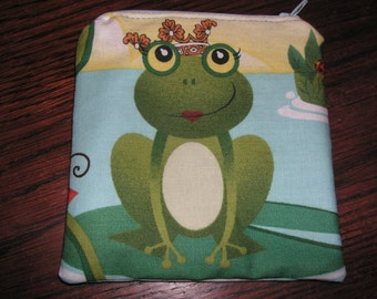 Frogs crown water Novelty handmade fabric coin change purse card holder