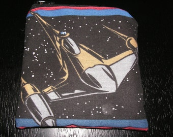 Star Wars fighter jet handmade fabric coin change purse zipper pouch