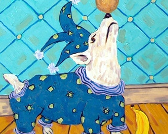 JACK russell terrier Art Tile Coaster JSCHMETZ modern abstract folk pop art jester  ART gift