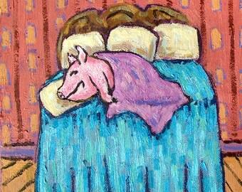 pig in a blanket Art Tile Coaster JSCHMETZ modern abstract folk pop art bedroom  ART gift