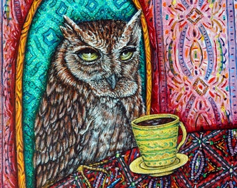 OWL bird art PRINT poster gift modern folk JSCHMETZ 11x14 coffee