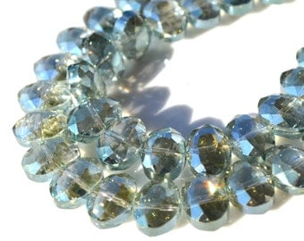 Mystic Green Faceted OVal Crystal Beads 6
