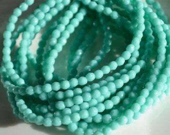Medium Green Aqua 3mm Faceted FIre Polish Round Beads   50