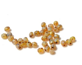 Amber Opal Picasso 3mm Faceted Fire Polish Round Beads 50