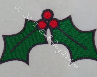 Holly & Berries Set - Top,Bottom, Left and Right Sides  Machine Embroidery Designs