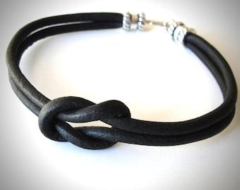 Reef Knot bracelet, Black Leather bracelet, Nautical Bracelet, Ladies or Mens Bracelet, choker, Christmas gift, gift for woman, gift for her