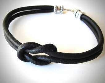Reef Knot bracelet Black Leather bracelet Nautical Bracelet Ladies or Mens Bracelet