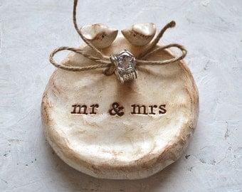 Ring pillow ... Wedding ring bearer bowl AND cake topper lovebirds to match ... mr mrs
