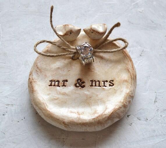 Wedding ceremony ring dish ... ring bearer bowl, handmade keepsake clay lovebird dish ... mr mrs