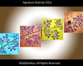 """Original Acrylic painting Heavy Texture Impasto Palette Knife landscape wall hang """"Spring Blossom Love Birds"""" by qiqigallery"""