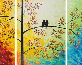"""54"""" large canvas art modern original acrylic painting birds 0n tree branch Textured Impasto Palette Knife Wall Art wall decor by qiqigallery"""
