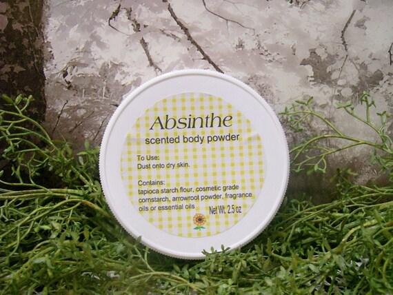 Absinthe scented Body Powder Dusting Powder Talc Free Powder