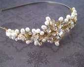 Bridal headpiece Pearl rhinestone gold wire wrapped headband