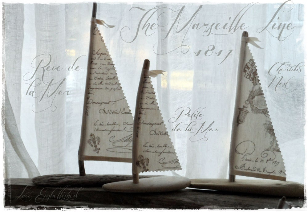 Driftwood crafted beach decor sail boat french script sails for French beach decor