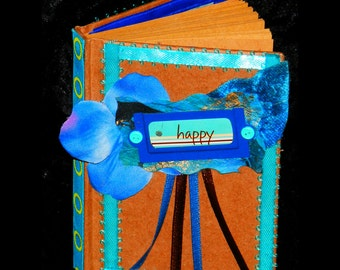 MINI Brown Paper Bag JOURNAL Embellished with Blue