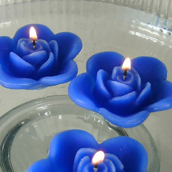 Royal Blue Wedding Centerpieces: 12 Blue Floating Rose Wedding Candles For Table By