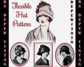Vintage Sewing Pattern 1920's Flexible Hat Depew 3020 Digital Print at Home Version -INSTANT DOWNLOAD-