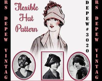 Vintage Sewing Pattern 1920's Flexible Hat Depew 3020 Digital Print at Home Version -INSTANT DOWNLOAD-