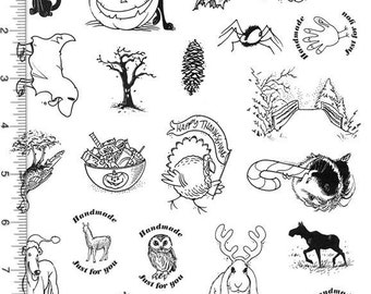 Full Sheet of Thanksgiving and Halloween Rubber Stamp Dies, Black Cat, Turkey, Greyhound, Guinea Pig, Frog Witch (Plate 111)