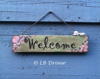 Vintage Look Hand Painted Reclaimed Wood Sign - Welcome