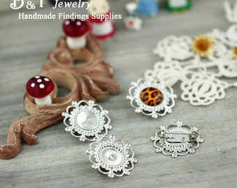 10pcs Silver Brass Filigree Brooch With 12mm Cameo Setting -- 12BH-02