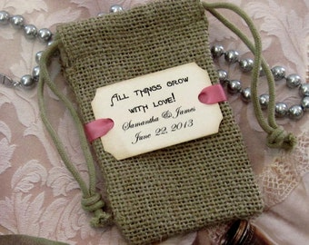 20 Burlap wedding favor bags - Personalized - All things grow with love