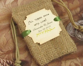 Burlap wedding favor bags - Personalized - All things grow with love