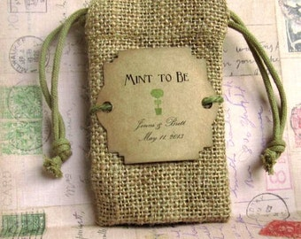 Burlap wedding favor bags - Personalized - Mint to be