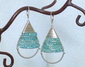Original Wire Wrapped Hoop  Dangle Earrings - Aqua Apatite -  Sterling Silver Earrings - Blue Stone Earrings - Birthstone - Made To Order
