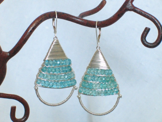 Original Wire Wrapped Hoop  Dangle Earrings - Aqua Apatite -  Sterling Silver Earrings - Blue Stone Earrings - Birthstone - Made To Order