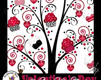 INSTANT DOWNLOAD Valentine's Day RED Cupcake Swirl Tree 2 a gorgeous swirly tree with red and black cupcakes red heart charms orpet tags