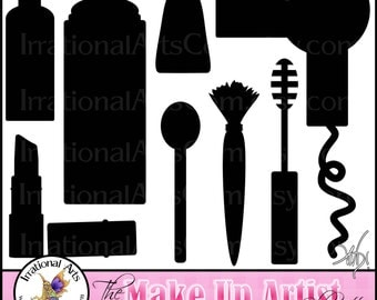 INSTANT DOWNLOAD The Make Up Artist silhouettes great for stylists or groomers.  The set  has 9 png files