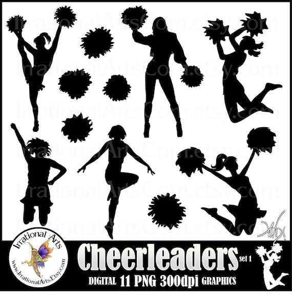 cheerleader silhouettes 11 png amp jpg digital cheerleader