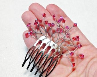 Crystal Hair Comb - Wedding Swarovski Crystal Full Spray Bridal Hair Pin - Pink Fuchsia Fuschia Watermelon Begonia