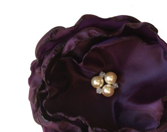 Purple Fascinator - Swarovski Crystal Pearl Embellishingments