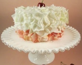 Faux Flower Petal Cake Vanilla and Cherry