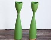 Danish Modern Green Candlesticks
