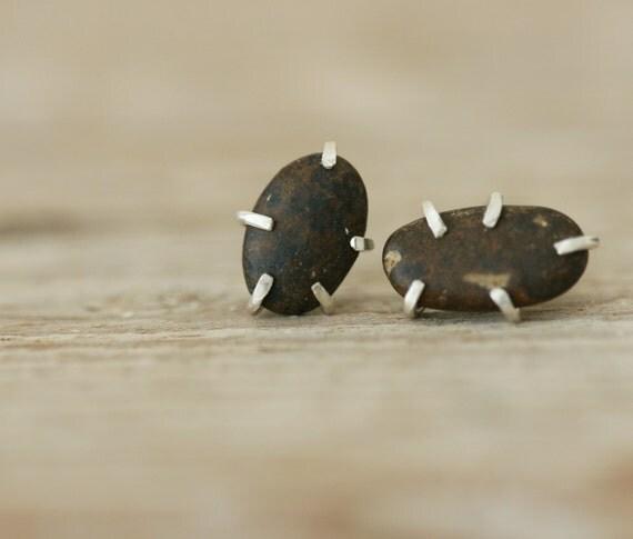 Dark Brown Pebble Studs - Sterling Silver and Beach Pebble Earrings