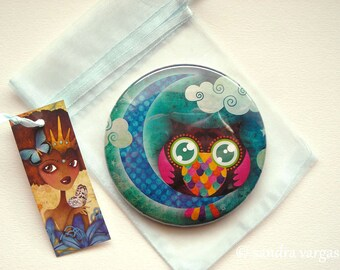My Crescent Owl 3.5 inches Pin Back Button