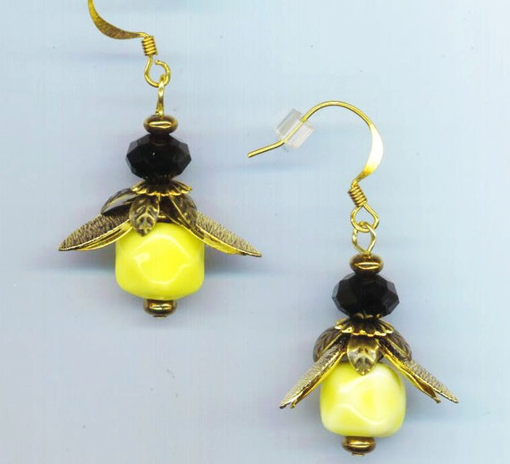Bee Earrings . Small Bee . Yellow Glass Beads . Brass Filigree Wings . Faceted Black Crystal Beads - I'm a Bee by enchantedbeas on Etsy