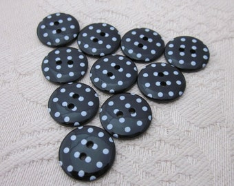 10 Small Black Polkadot Buttons
