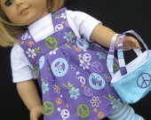 Purple & Aqua Peace Capri Set for American Girl